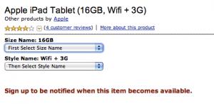 Amazon: Apple iPad-Seite