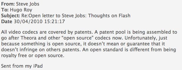 Steve Jobs antwortet auf eine Frage zum Videocodec