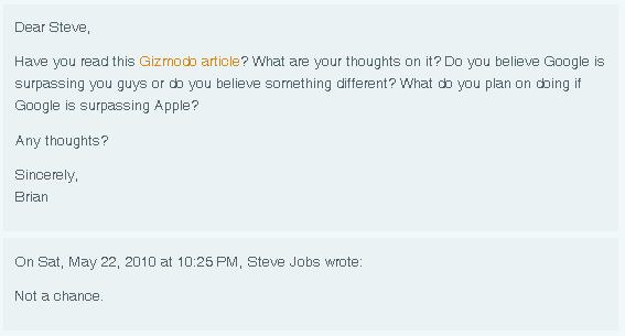 """Steve Jobs zur Frage, ob Google bald Apple überholt: """"Keine Chance."""""""