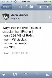 Tweet von John Gruber: Vergleich von iPhone 4 und iPod Touch 4G
