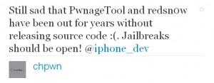 Tweet von chpwn zu redsn0w, PwnageTool und Open Source