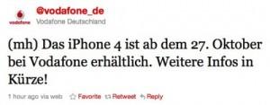 Lang ersehnter Tweet: iPhone 4 ab Mittwoch bei Vodafone!