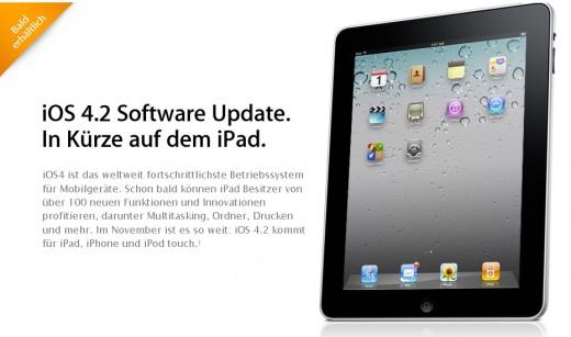 iOS 4.2: Ankündigung und Funktioins-Infos auf der Apple Website