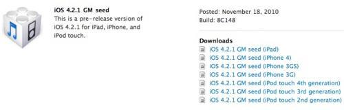 Apple veröffentlicht iOS 4.2.1 Golden Master für Entwickler
