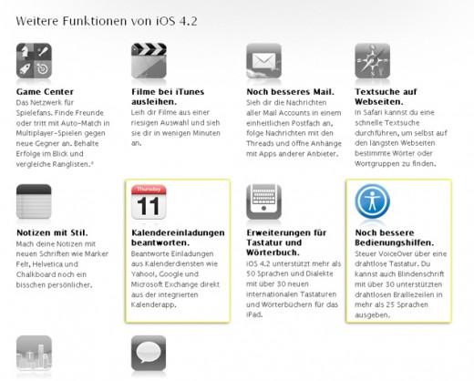 Zusätzliche iOS-Funktionen auf der Apple Website