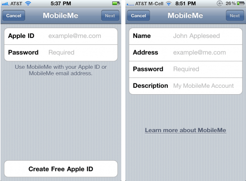 MobileMe Login Screen: iOS 4.2 GM links, iOS 4.1 rechts
