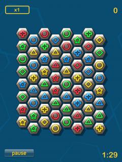 Hier seht ihr das Spielfeld deren gleiche Spielsteine herausgesucht werden müssen.