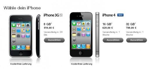 iPhone 4 im Apple Online Store