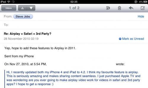 Steve Jobs: Antwort zu AirPlay-Frage