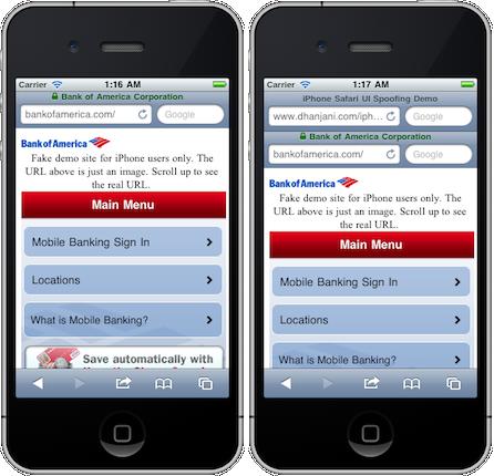 UI Spoofing: Links die Originalseite, rechts ein Nachbau mit gefälschter Adresszeile (als Bild)