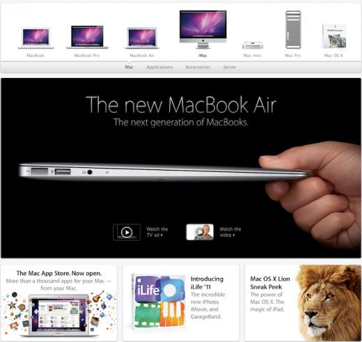 Apple.com: Mac-Seite mit neuem Design