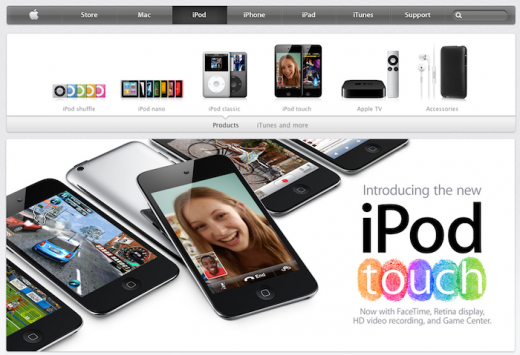 Apple.com: iPod-Seite mit neuem Design