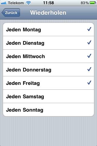 """iOS 4: Wecker für morgen am besten auf """"Wiederholend"""" stellen"""