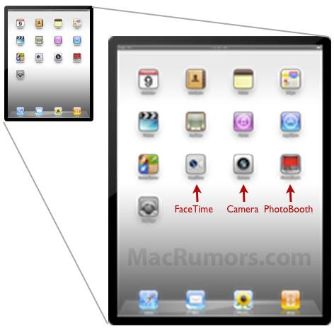 iOS 4.3: Icons für FaceTime, Kamera und PhotoBooth als Standard-Icons in der Vorschau des iPad Homescreens