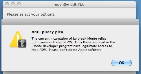 redsn0w 0.9.7b6 mit Anti-Piraterie Hinweis
