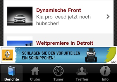 Renault: Eine der ersten iAds in Deutschland