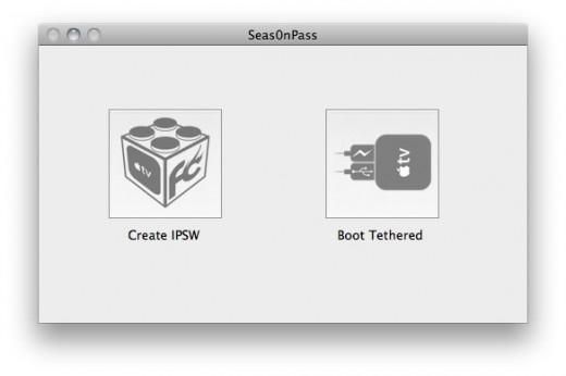 """Schritt 2: Am Startbildschirm kann man zwischen zwei Aktionen wählen: Auf """"Create IPSW"""" klicken. (Falls das Gerät bereits jailbroken ist und man nur """"tethered booten"""" möchte, siehe weiter unten.)"""