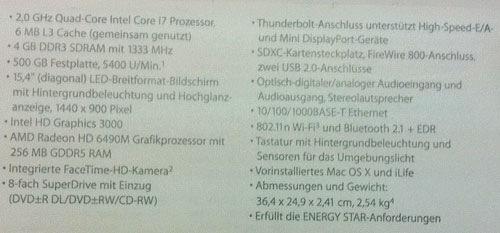 Dieses etwas unscharfe Foto mit den Spezifikationen des MacBook Pro wurde entdeckt