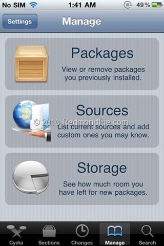 """2. Schritt: Nach dem Jailbreak ist das iPhone 4 oder 3GS bereit für den Unlock. Jetzt Cydia öffnen, dann unten den Tab """"Manage"""" und """"Sources"""" antippen."""