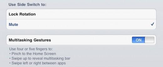 Zusätzliche Multitouch-Gesten am iPad aktivieren
