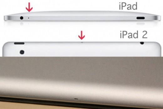 Mikrofonplatzierung am iPad der 1. und 2. Generation