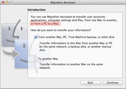 Migration auch von anderen PCs erleichtert in Lion