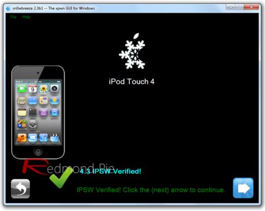 """4. Schritt: Sn0wbreeze identifiziert die ausgewählte IPSW-Datei. Wenn dieser Vorgang durchgeführt ist, auf """"Weiter"""" (blauer Pfeil"""") klicken."""