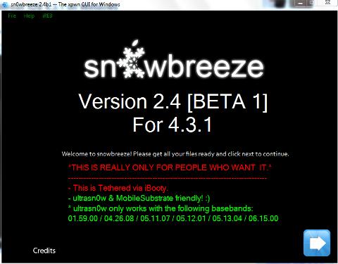 Sn0wbreeze 2.4b1: Tethered iOS 4.3.1 Jailbreak