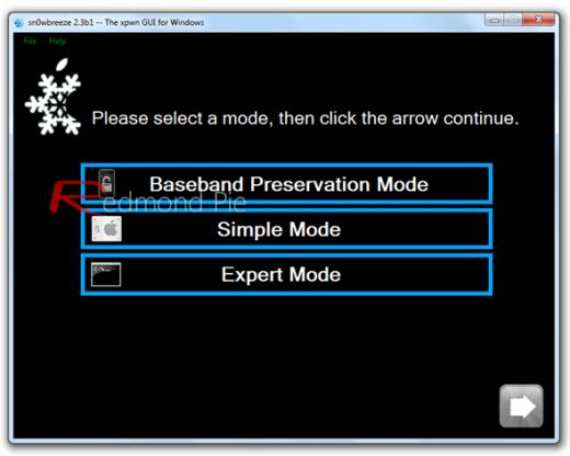 """5. Schritt: Den """"Expert Mode"""" auswählen, anschließend auf """"Build IPSW"""" klicken, um die Custom Jailbroken Firmware zu erstellen. Wichtig: Wer auf einen Unlock angewiesen ist, wählt statt dem """"Expert Mode"""" den """"Baseband Preservation Mode""""."""