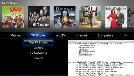 Beweisbild: jailbroken AppleTV mit iOS 4.3.1