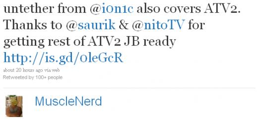 MuscleNerd: Auch AppleTV 2G wird in den Genuss des untethered 4.3.1 Jailbreak kommen.