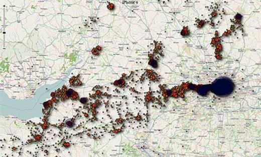 Mitgeloggte Geodaten eines iPhone in Großbritannien