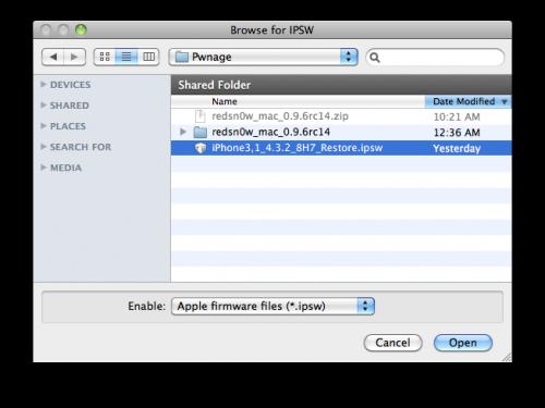 """...die iOS 4.3.2 Firmware-Datei auswählen, dann auf """"Open"""" klicken."""