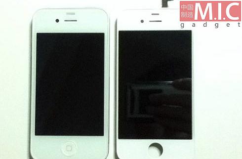 Vergleich: Frontpanele von iPhone 4 (links) und iPhone 4S (rechts)