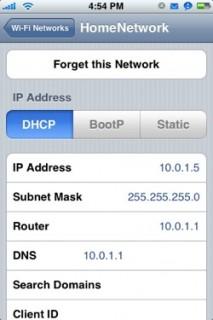 WiFi IP-Adresse am iPhone auslesen