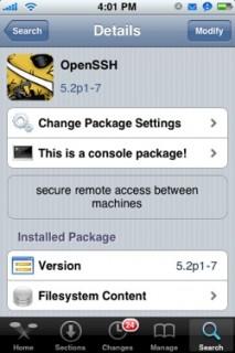 OpenSSH in Cydia