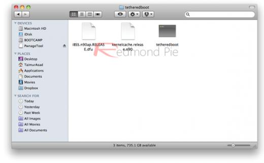 12. Schritt: Aus der soeben erstellten Custom iOS 4.3.2 Firmware müssen jetzt 2 Dateien extrahiert werden. Dazu eine Kopie der .ipsw-Datei anlegen, die Dateiendung dieser Kopie auf .zip ändern, und die Datei extrahieren...