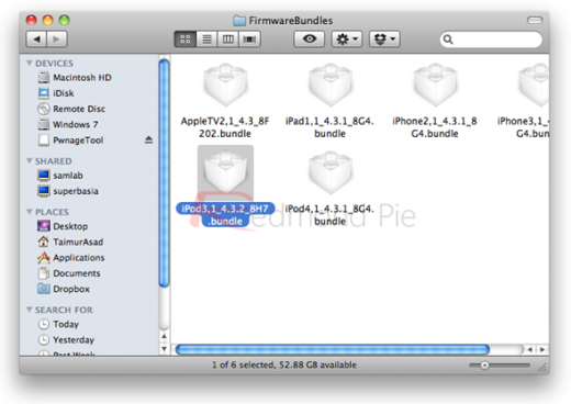 """3. Schritt: Rechtsklick auf die PwnageTool-Datei, """"Inhalt anzeigen"""" (""""Show Package Contents""""), und ins Verzeichnis Contents/Resources/FirmwareBundles/ wechseln. Hier die .bundle-Datei aus Schritt 1 hinein kopieren."""