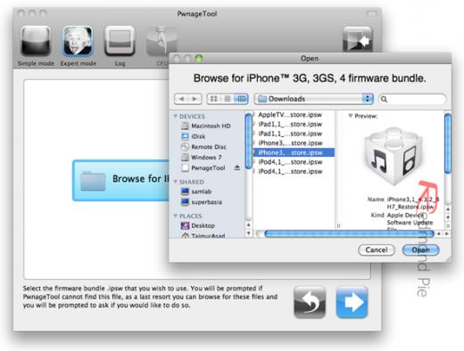6. Schritt: Die soeben heruntergeladene iOS 4.3.2 Datei auswählen.
