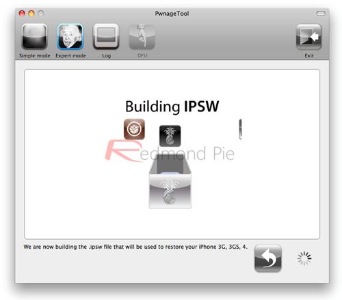 """7. Schritt: """"Build"""" auswählen, um die jailbroken Custom 4.3.2 Firmware zu erstellen. PwnageTool erstellt jetzt diese Datei."""