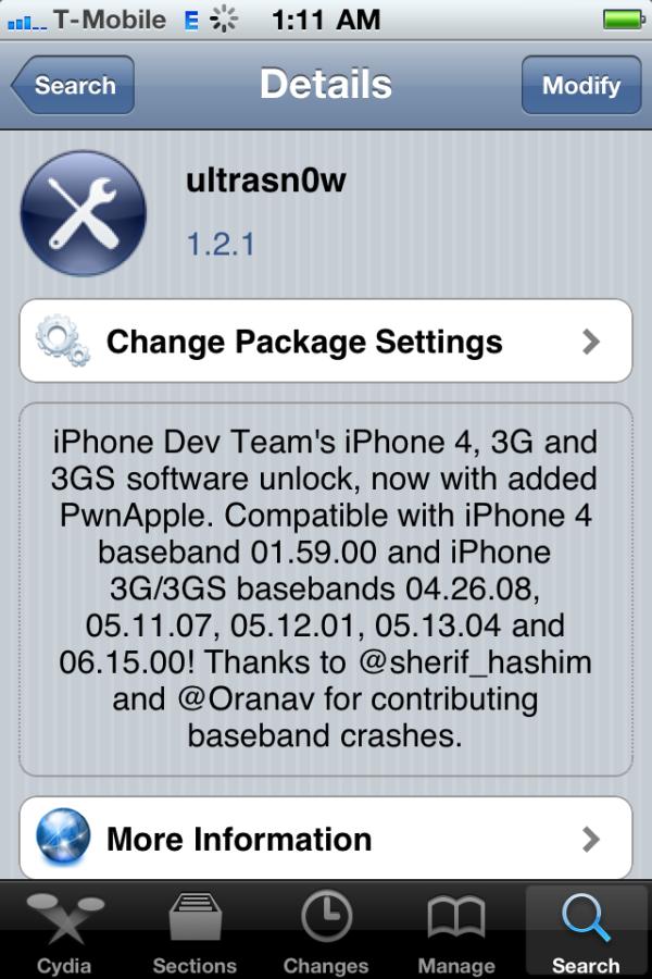 """4. Schritt: In der Cydia-Suche nach """"ultrasn0w 1.2″ (wieder die Null beachten!) suchen und das Paket installieren. Die App entsperrt automatisch das iPhone und entfernt einen allfälligen SIM-Lock."""