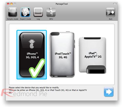 """2. Schritt: PwnageTool im """"Expert Mode"""" starten und das passende iDevice auswählen. Weiter geht's mit dem blau hinterlegten Pfeil."""