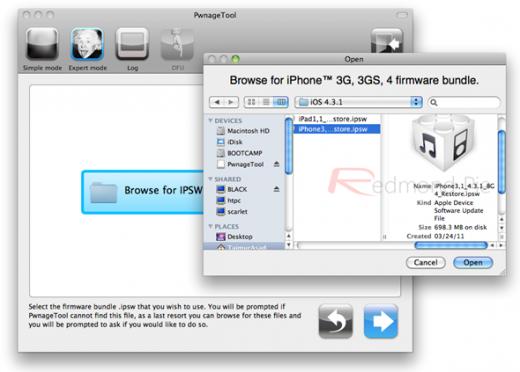 3. Schritt: Die gerade heruntergeladene iOS 4.3.1 Firmware-Datei (.ipsw) auswählen und bestätigen.