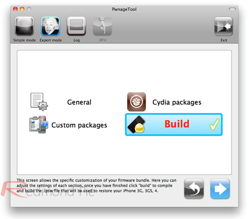 """4. Schritt: Mit """"Build"""" und Klick auf den Pfeil das Erstellen der Custom Jailbroken Firmware-Datei einleiten. PwnageTool erledigt diesen Schritt selbständig."""