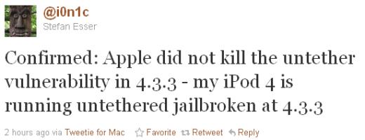 i0n1c: Untether Exploit in iOS 4.3.3 noch vorhanden!