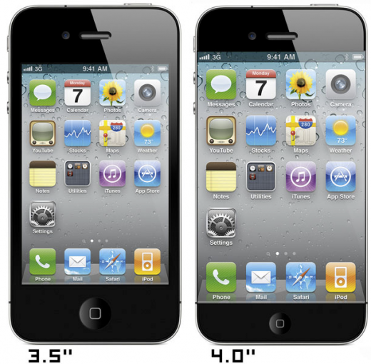 iPhone 4 mit 3,5 Zoll Display, iPhone 5 Mockup mit 4 Zoll Display