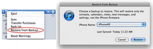Wiederherstellung der iPhone Einstellungen