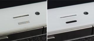 Weißes iPhone 4: Annäherungssensor im Prototypen (links) und im endgültigen iPhone 4 (rechts)