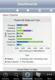 Screenshot: Salesforce iPhone Dashboard