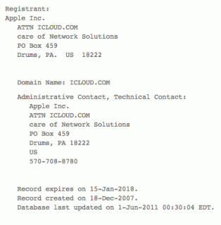 WHOIS-Informationen zu iCloud.com